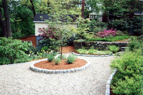 Stone walkway with cobblestone borders